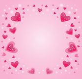 Frame of pink hearts Royalty Free Stock Image