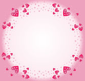 Frame of pink hearts Stock Images