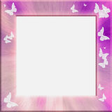 Frame pink. Light frame (for paintings, photographs, portrait) in pink colors, decorated with a small amount of white butterflies stock illustration
