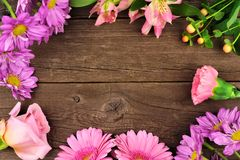 Frame of pink and purple flowers against a rustic wood background. Frame of pink and purple flowers with rose, carnation, daisies and lilies against a rustic Stock Photography