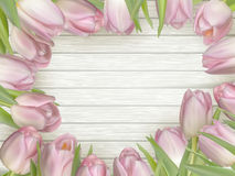 Frame of pink tulips. EPS 10 Royalty Free Stock Image