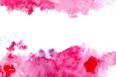Frame from pink watercolor blotch. Abstract watercolor hand drawn illustration.Pink splash Stock Image