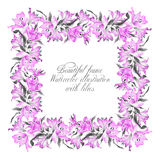 Frame with pink watercolor lilies. Royalty Free Stock Image