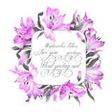 Frame with pink watercolor lilies. Royalty Free Stock Photo