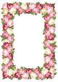 Frame with pink and white vintage roses. Royalty Free Stock Images