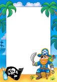 Frame with pirate 1. Color illustration Stock Image