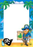 Frame with pirate 2. Color illustration Stock Photo