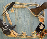 Frame with pirate accessories stock images