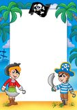 Frame with pirate boy and girl. Color illustration Stock Photos