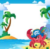 Frame with pirate crab Royalty Free Stock Image