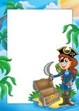 Frame with pirate girl on beach Royalty Free Stock Image