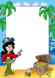 Frame with pirate girl and treasure 1 Stock Photo