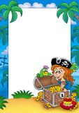 Frame with pirate girl and treasure Royalty Free Stock Photo