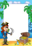 Frame with pirate girl and treasure 2 Stock Images