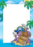 Frame with pirate octopus Stock Photo