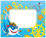 Frame with a pirate shark. Vector horizontal frame border with a pirate shark, a sea snake, a crab, a starfish, a steering wheel and an anchor from a sunken ship Royalty Free Stock Image