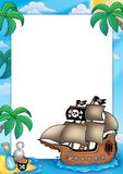 Frame with pirate ship. Color illustration Stock Photography