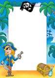 Frame with pirate woman 2. Color illustration Royalty Free Stock Images