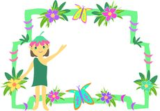 Frame of Pixie, Flowers, and Butterflies Stock Image