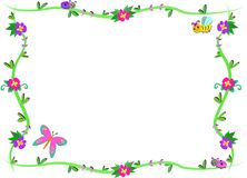 Frame of Plants, Flowers, and cute Bugs Royalty Free Stock Photos
