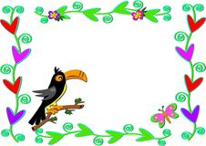 Frame of Plants, Hearts, and Toucan Bird Royalty Free Stock Images
