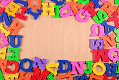 Frame of plastic colorful alphabet letters Stock Photography