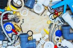 Frame of plumbing tools Royalty Free Stock Photo