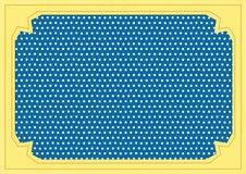 Frame polka dot. White dot pattern on blue background wiht yallow frame and line brown line Royalty Free Stock Photos