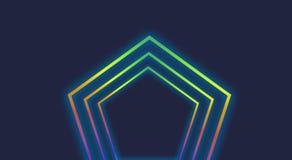 Neon light polygonal frame background stock illustration