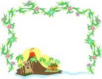 Frame of Polynesian Tiki and Volcano Royalty Free Stock Images