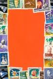 Frame of postal stamps Stock Images