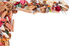 Frame with potpourri. Useful for entering text in the frame stock photos