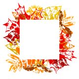 Frame with printed leaves. Art illustration of autumn foliage Vector Illustration