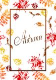 Frame with printed leaves. Art illustration of autumn foliage Royalty Free Illustration