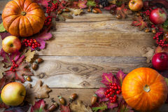 Frame of pumpkins, apples, acorns, berries and fall leaves on wo Royalty Free Stock Photography
