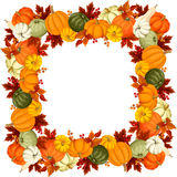 Frame with pumpkins and autumn leaves. Vector illustration. Royalty Free Stock Photos