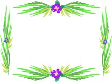 Frame of Purple Flowers and Green Stalks Stock Images