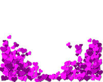 Frame of purple hearts on a white background Stock Photography