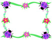Frame of Purple Ladybugs, Flowers, and Rings Royalty Free Stock Image