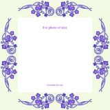 Frame with a purple ornament of curls and leaves. stock illustration