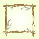 Frame pussy willow branch spring background vector Royalty Free Stock Photos