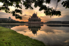Frame Putra Mosque. The Putra Mosque, or Masjid Putra in Malay language, is the principal mosque of Putrajaya, Malaysia. Construction of the mosque began in 1997 Royalty Free Stock Image