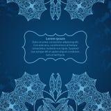 Frame quadrado hand-drawn azul com flores Ilustração Royalty Free