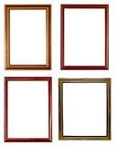 Frame quatro de madeira no branco Fotografia de Stock