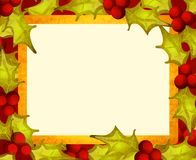 Frame rústico da beira da folha do azevinho Imagens de Stock