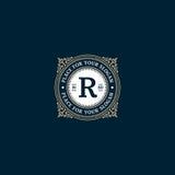 Frame_R2. Simple monogram design template with letter R. Elegant frame ornament line logo design. Good for Restaurant, Boutique, Hotel, Heraldic, Jewelry Stock Photography