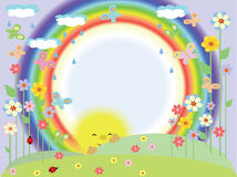 Frame with rainbow. Summer round frame with rainbow Royalty Free Stock Photography