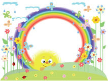 Frame with rainbow. Summer round frame with rainbow Stock Image