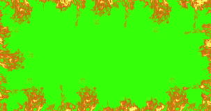 Frame of real fire flames burn movement on chroma key, green screen background stock footage