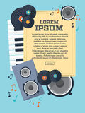 Frame with records, piano keys, speaker and notes for your design. Vector Royalty Free Stock Image